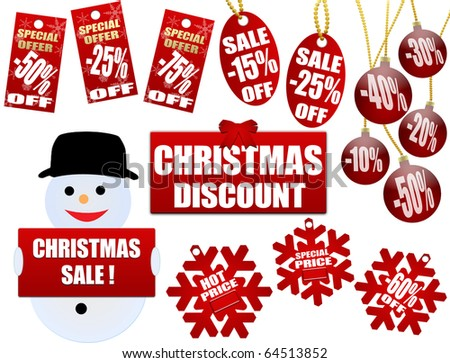 Set of christmas price tags and labels, vector illustration - stock vector