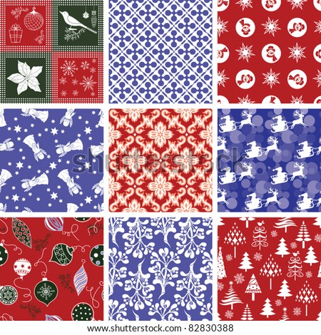 Set of Christmas Repeating Patterns - stock vector