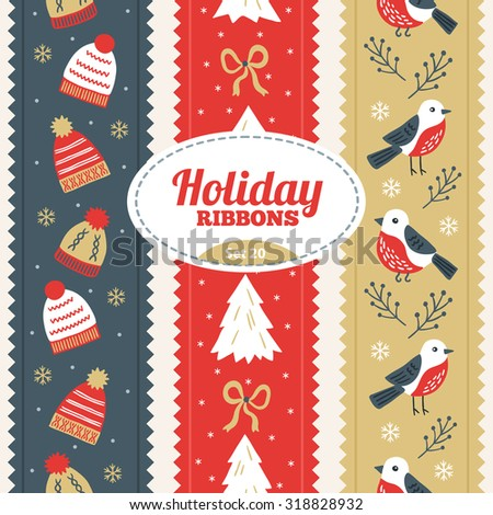 Set of Christmas ribbons with winter hat, fir trees, bows, snowflakes and birds. Perfect for creating collages, decorating wishes, albums, greeting cards, glass, candles, home accessories and more - stock vector