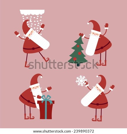 set of Christmas Santa Claus illustration pictures - stock vector