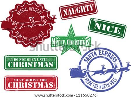 Set of Christmas Santa Stamps - stock vector