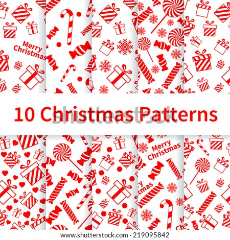 Set of Christmas seamless patterns (tiling, swatches) with gift boxes, candies, snowflakes. Endless texture can be used for wrapping paper, wallpaper, pattern fills, scrapbooking, cards, textures etc. - stock vector