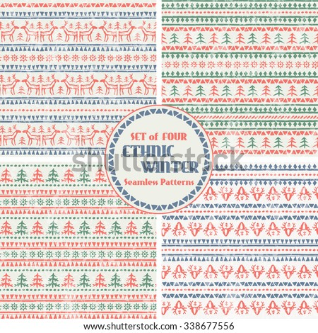 Set of Christmas seamless patterns with stylized reindeer and Christmas trees. Primitive ethnic (tribal) style with hand drawn geometric ornament. Blue, green and red palette with a grunge texture - stock vector