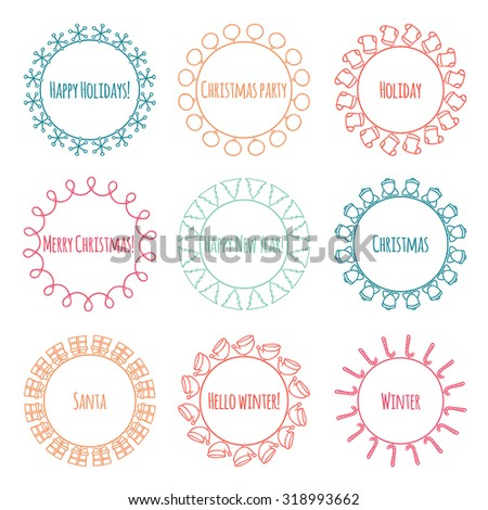 Set of 2016 Christmas season hand drawn vector line border and frame. Sketch scribble winter graphic element. New Year brushes for design. Illustration. Doodle style. Scrapbook decorations. - stock vector