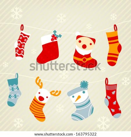 set of Christmas socks - stock vector