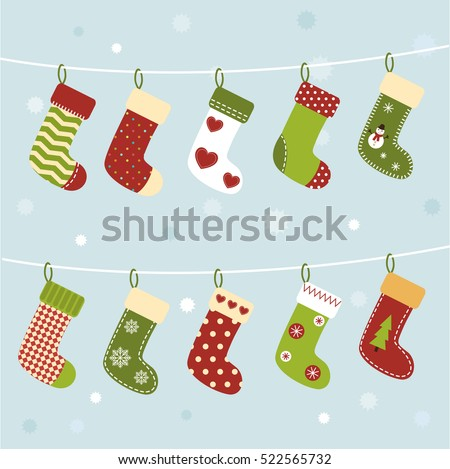 set of christmas socks on winter background cute stockings new year greeting card or - Christmas Stockings