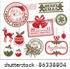 set of Christmas stamp - stock vector