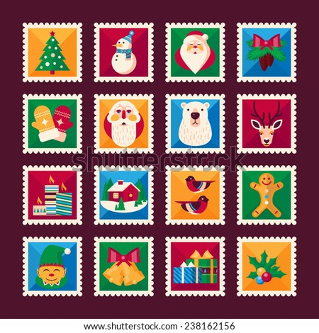 Set of Christmas stamps. Christmas, Happy New Year, Happy holidays icons in flat design style - stock vector