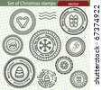 Set of Christmas stamps, vector image. - stock vector