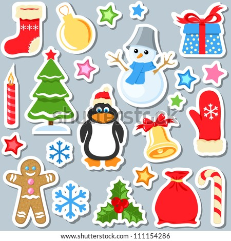 set of christmas stickers vector - stock vector