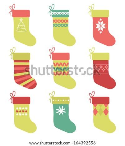 Set of 9 Christmas Stockings - stock vector
