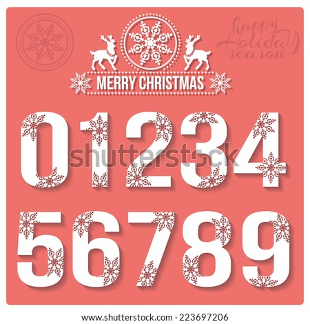 Set of Christmas stylized numbers with snowflakes. Vector 0, 1, 2, 3, 4, 5, 6, 7, 8, 9. - stock vector