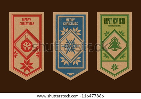 Set of christmas tags - stock vector