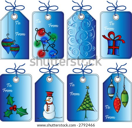 Set 8 Christmas Tags Gifts Scrapbooks Stock Vector 2792466