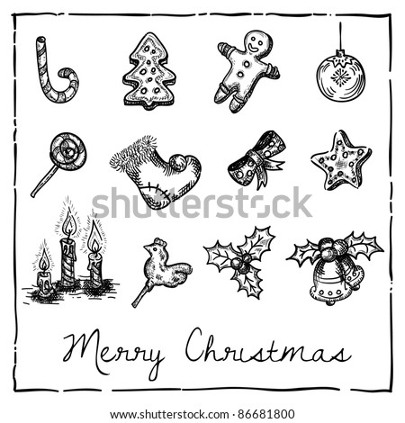 set of Christmas-themed elements - stock vector
