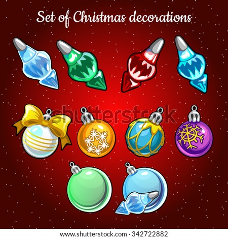 Set of Christmas toys and decor on Christmas tree on a red background - stock vector