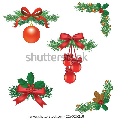 Set Of Christmas Tree Decorations With Ribbons And Balls Cones