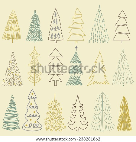 Set of Christmas tree isolated on a pastel background. Design holiday Christmas trees for wrapping paper, scrap booking - stock vector