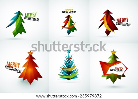 Set of Christmas tree modern paper geometric designs, simple icons - stock vector