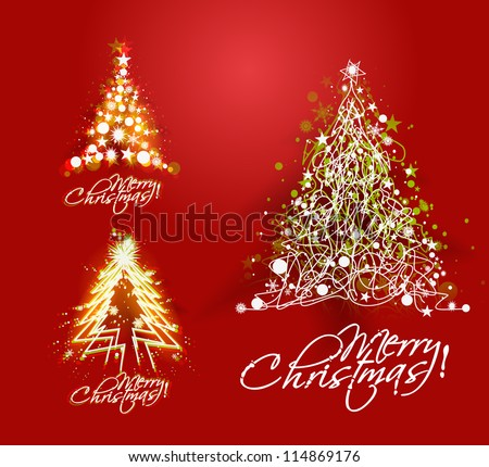 Set of christmas tree with hand sketch line, - stock vector