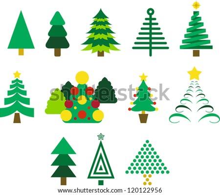 Set of Christmas trees - stock vector