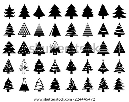 Set of christmas trees - stock vector