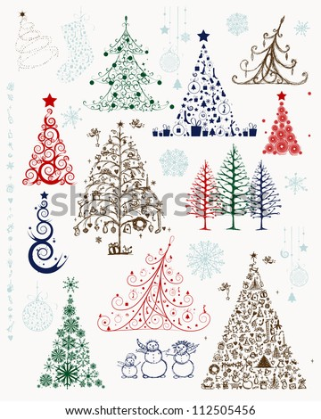 Set of christmas trees and decorations for your design - stock vector