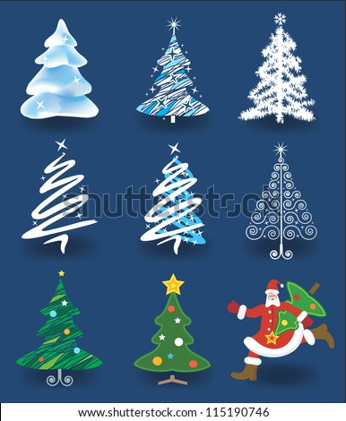 Set of christmas trees and Santa Claus running with christmas tree. Vector illustration. - stock vector