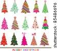 set of christmas trees isolated on White background. Vector illustration - stock photo