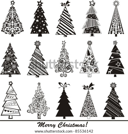 set of christmas trees isolated on White background. Vector illustration - stock vector