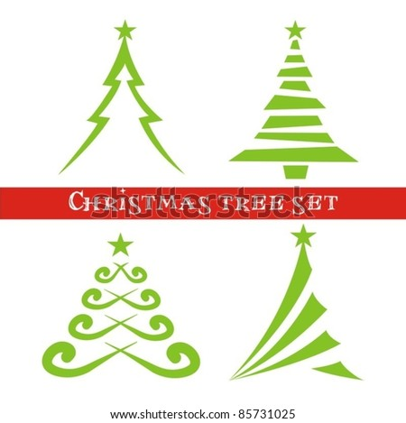 Set of christmas trees. Vector illustration. - stock vector