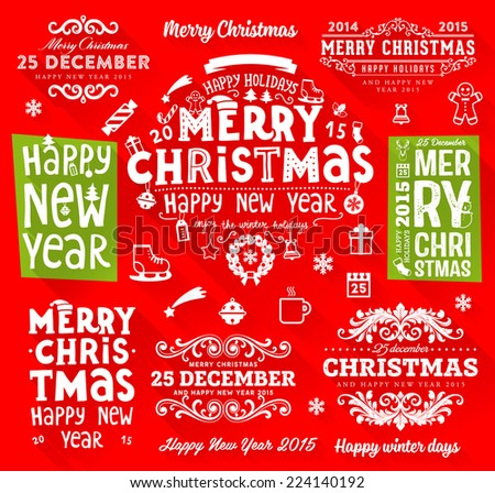 Set of Christmas Type Designs. Modern Flat Style Xmas Icons. Holiday Vector. - stock vector
