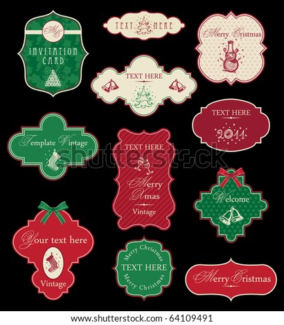 Set of Christmas vintage frames - stock vector