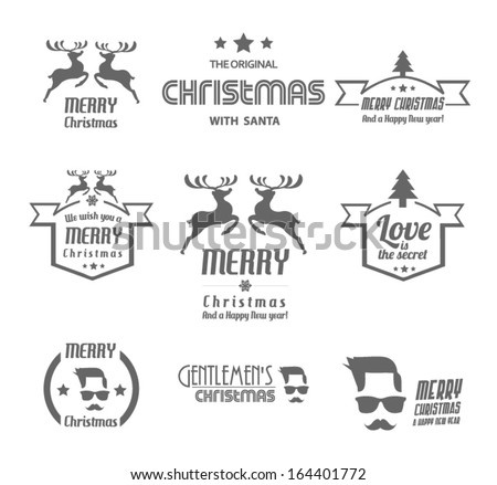 Set of Christmas vintages for Christmas - stock vector