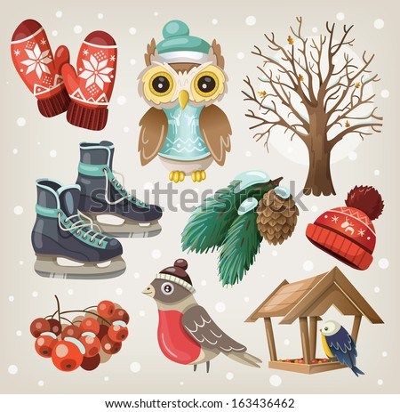 Set of christmas winter items and elements - stock vector