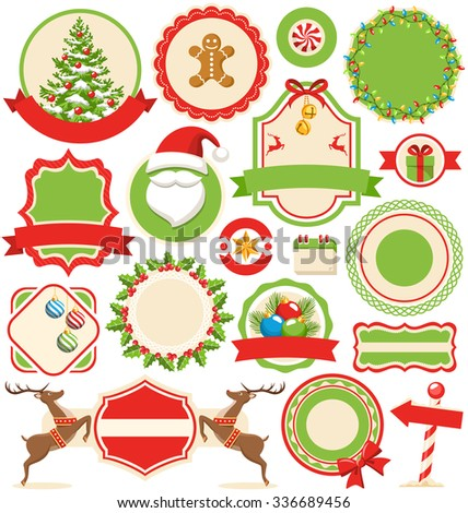 Set of Christmas Winter Labels Icons Flat Collection Isolated on White Background  - stock vector