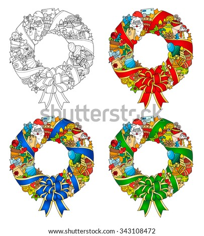 Set of Christmas wreaths. Doodle pattern with balloons, bells, sweets, Christmas socks, gifts, mittens, envelope, letter, tree, stars, candle, bird, snowman, ball, bow, heart and Santa Claus. - stock vector