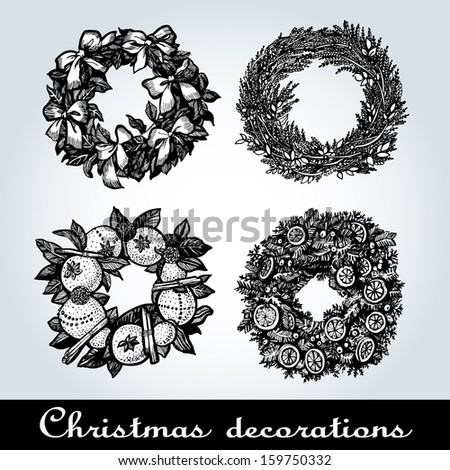 Set of Christmas wreaths, vector illustration for processing printing projects - stock vector