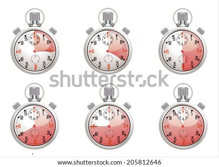 Set of Chrome analog Stopwatch. Vector illustration - stock vector