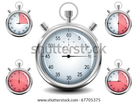 Set of Chrome analog Stopwatch. Vector illustration. EPS8 - stock vector