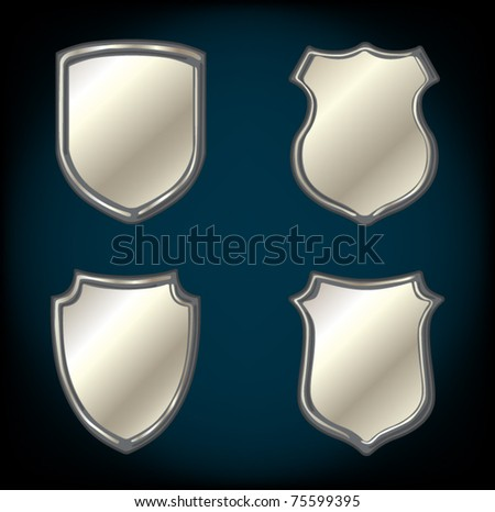 set of chrome metallic shields - stock vector