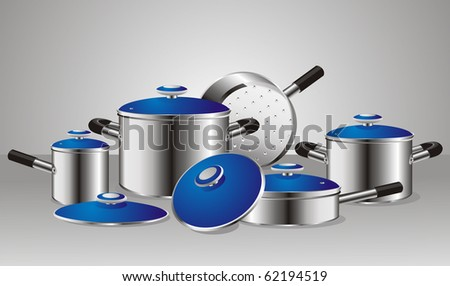 set of chrome-plated pans with blue lids - stock vector