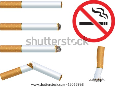 "Set of cigarettes and the sign ""No smoking"" - stock vector"