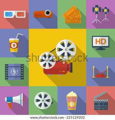 Set of Cinema, Movie icons. Flat style  - stock vector