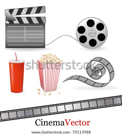 Set of cinema symbols. Vector illustration.