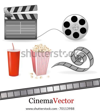 Set of cinema symbols. Vector illustration. - stock vector
