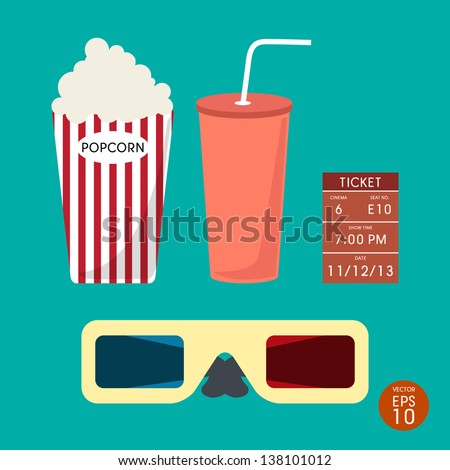 Set of Cinema  ticket and popcorn vector - stock vector