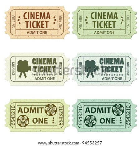 Set of Cinema Tickets in Different Colors and Styles, vector illustration - stock vector