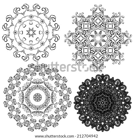 Set of circle backgrounds, Guilloche ornamental Elements for Certificate, Money, Diploma, Voucher, decorative round frames.  - stock vector