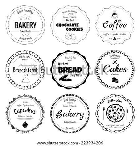 Set of 9 circle bakery labels isolated on white background - stock vector